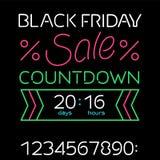 Temporizzatore nero di vendita di venerdì Fotografia Stock Libera da Diritti