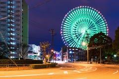 Tempozan ferris koło przy nocą zdjęcia stock