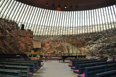 Temppeliaukio stone church in Helsinki. Stone church know as Temppeliaukio kirka in Helsinki, Finland. Famous and for tourism popular bulding created in big royalty free stock photo