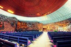 Temppeliaukion kyrka, Helsingfors, Finland Arkivbilder