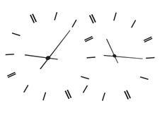 Temps affichant des horloges Image stock