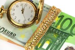Temps, argent, bijoux Image stock