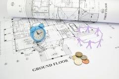 Temps, argent, et main d'oeuvre - trois facteurs dans le projet de construction image stock