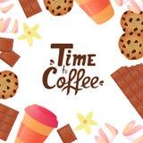 Temps au lettrage de main de café Tasse de café, une barre de chocolat, biscuits, guimauves Fond de confiserie illustration libre de droits