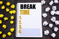 Temps conceptuel de coupure d'apparence de légende des textes d'écriture de main Concept d'affaires pour la pause d'arrêt de l'at photos stock