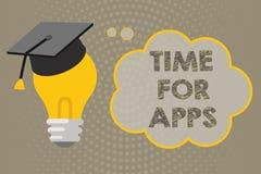 Temps d'écriture des textes d'écriture pour Apps Concept signifiant le meilleur service complet que les aides communiquent plus r illustration libre de droits