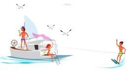 Temps d'amusement de dépense d'ami de bande dessinée sur le yacht illustration libre de droits