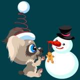 Temps d'amusement de dépense de chiot de bande dessinée avec le bonhomme de neige illustration de vecteur