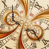 Temps d'or de mode de vieux horloge d'abrégé sur de fractale de double de spirale d'horloge de montre de texture de fractale fond Image libre de droits
