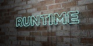 TEMPS D'EXÉCUTION - Enseigne au néon rougeoyant sur le mur de maçonnerie - 3D a rendu l'illustration courante gratuite de redevan illustration stock