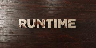 Temps d'exécution - titre en bois sale sur l'érable - image courante gratuite de redevance rendue par 3D illustration de vecteur