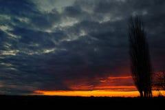 Temps de coucher du soleil dans la campagne d'Italien d'hiver Photos stock