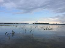 Temps de coucher du soleil près à un lac photos stock