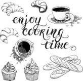 Temps de cuisson Enjoy d'ensemble de café de vecteur Images stock