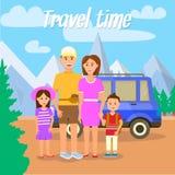 Temps de déplacement Parents voyageant ainsi que des enfants illustration de vecteur