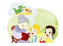 temps de grand-mère et de famille de gosses - vecteur Photographie stock libre de droits