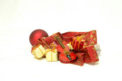 Temps de Noël et cadeaux, carte de Noël Photographie stock libre de droits