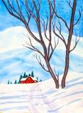 Temps de Noël - la peinture originale d'aquarelle de la neige a couvert la scène rurale illustration libre de droits