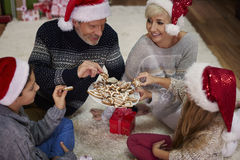 Temps de Noël pour la famille heureuse Images libres de droits