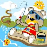 Temps de pêche d'ours de bande dessinée de vecteur Image stock