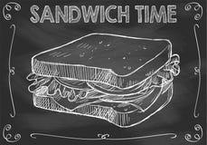 Temps de sandwich à tableau avec le sandwich tiré par la main Image stock