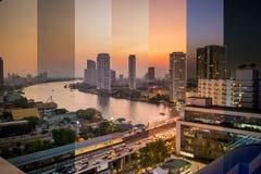 Temps de soirée dans le concept de Bangkok Photographie stock