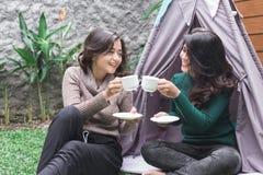 Temps de thé dans l'arrière-cour Deux amis Photos libres de droits
