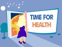 Temps des textes d'écriture de Word pour la santé Le concept d'affaires pour encourager quelqu'un à commencer à manger de la nour illustration stock