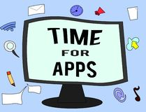 Temps des textes d'écriture pour Apps Concept signifiant le meilleur service complet que les aides communiquent plus rapidement illustration de vecteur