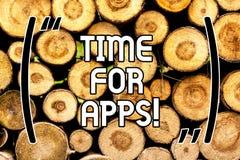 Temps des textes d'écriture pour Apps Concept signifiant le meilleur service complet qui aides pour communiquer en bois plus rapi image libre de droits