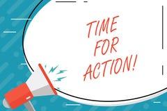 Temps des textes d'écriture pour l'action Concept signifiant le travail de défi d'encouragement de mouvement d'urgence illustration stock