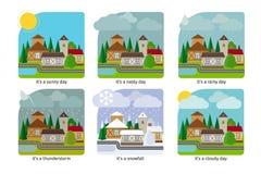 Temps différent dans les illustrations de ville illustration libre de droits