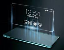 Temps et apps sur l'écran tridimensionnel de smartphone Photos libres de droits