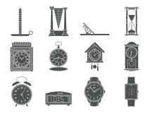 Temps et signes d'horloges réglés Icônes de montre Ligne plate illustrations de style d'isolement De rétro à la collection modern Images stock