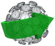 Temps faisant avancer la flèche de sphère d'horloge dirigeant l'avenir illustration de vecteur