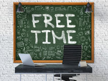Temps gratuit tiré par la main sur le tableau de bureau 3d Image stock