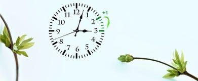 Temps heure d'été DST Horloge murale allant à l'horaire d'hiver Tournez le temps en avant photos libres de droits