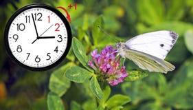 Temps heure d'été DST Horloge murale allant à l'horaire d'hiver Tournez le temps en avant images stock