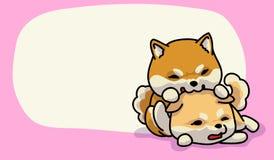 Temps heureux d'inu de Shiba Image stock