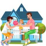 Temps heureux de dépense de famille de bande dessinée ensemble dehors illustration libre de droits