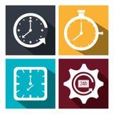 Temps, horloge, icône de montre Illustration Stock