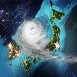 Temps Japon et Corée de cyclone rendu 3d Image stock