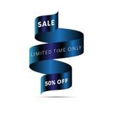 Temps limité de bannière de vente seulement cinquante pour cent outre du texte blanc illustration stock