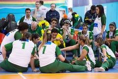 Temps mort d'équipe du Brésil Photo libre de droits