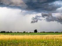 Temps orageux au-dessus de terre rurale de ferme Photos libres de droits