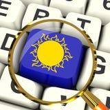 Temps ou soleil de Sunny Key Magnified Means Hot Image libre de droits