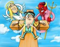 Temptation. Funny symbolic hand drawn illustration royalty free illustration