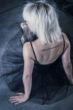 Temptation,  blonde ballerina with black tutu Stock Images