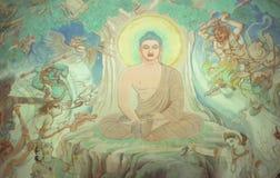 Temptation of Buddha. Fresco at Sarnath,  (Varanasi / Benares) India, Asia Royalty Free Stock Images
