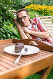 The temptation of chocolate cake Stock Photography